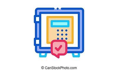 code safe Icon Animation. color code safe animated icon on white background