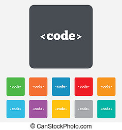Code sign icon. Programming language symbol. Rounded squares 11 buttons. Vector