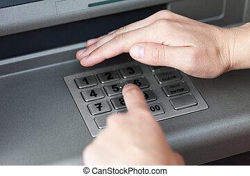 code, stift, geldautomat, lösen maschine, eintragen