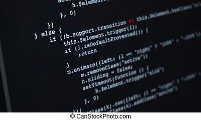 code, sur, programmation, jeûne, défilement, écran