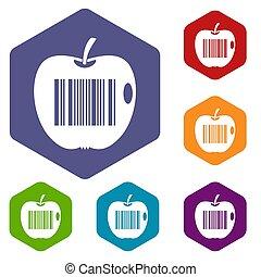 Code to represent product identification icons set hexagon...