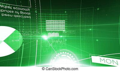 code, transfer., couleur, résumé, connexions, fait boucle, par, technologie, 3840x2160., réseau, concept., animation, 3d, points, business, flares., en mouvement, données, hd, lignes, vert, 4k, grille, ultra, logiciel