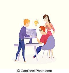 code, travail, programmation, illustration, écriture, équipe