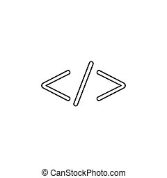 Code, web icon. Vector illustration, flat design.