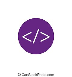 Code, web icon. Vector illustration, flat design.