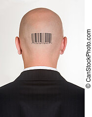 Male?s back of head with printed barcode on it