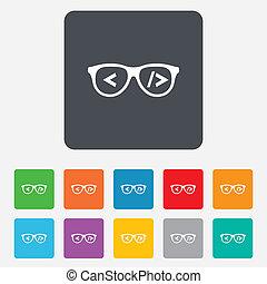 coder, programmeur, symbool., icon., meldingsbord