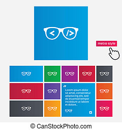 Coder sign icon. Programmer symbol. Glasses icon. Metro style buttons. Modern interface website buttons with hand cursor pointer. Vector