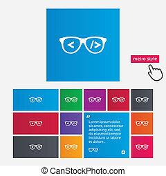 Coder sign icon. Programmer symbol. Glasses icon. Metro...