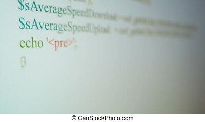coderen, op, de monitor van pc, selectieve nadruk