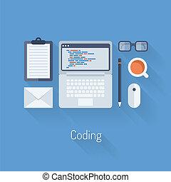 coderen, programmering, illustratie, plat