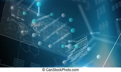 codes, aarde, binair, kaart, digitale , molecules, animatie