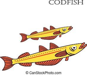 Codfish color cartoon vector illustration.