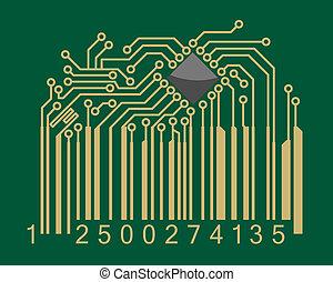 codice barre, con, computer, scheda madre, elementi