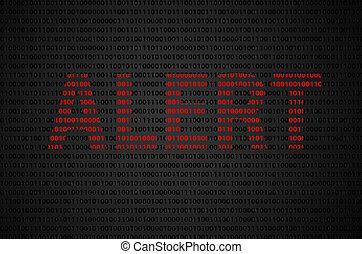 "codice binario, ""alert"", testo"