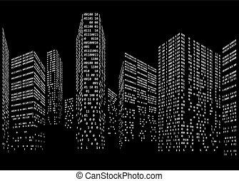 codice binario, forma, skyline città, futuristico