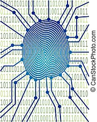 codice binario, illustrazione, asse, circuito, impronta pollice
