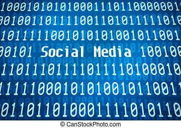 codice binario, parola, centro, media, sociale