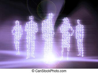 codice binario, persone affari
