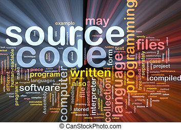 codice, fonte, ardendo, concetto, fondo