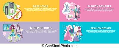 codice, progettista, giro, moda, shopping, vestire