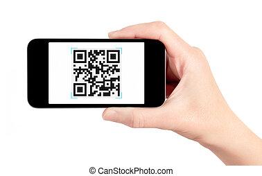 codice, scanner, mobile, mano, telefono, qr, presa a terra