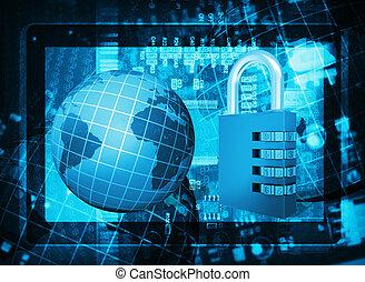 codice, tavoletta, globo, serratura, pc, circuito