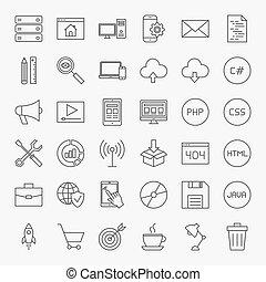 codificación, línea, iconos, conjunto