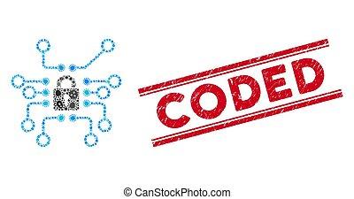 codificado, mosaico, cryptography, estampilla, gripe,...