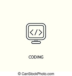 coding concept line icon. Simple element illustration. coding concept outline symbol design. Can be used for web and mobile
