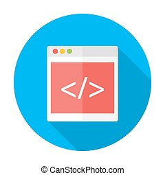 Coding flat circle icon with long shadow - Vector...