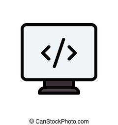 coding flat color icon