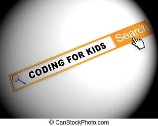 Coding For Kids Children Programming 2d Illustration