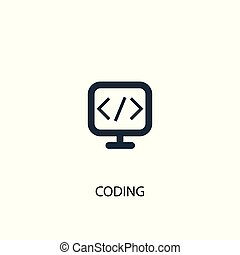 coding icon. Simple element illustration. coding concept symbol design. Can be used for web