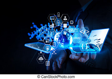Coding software developer work with augmented reality dashboard computer icons of scrum agile development and code fork and versioning with responsive cybersecurity. businessman shows modern technology as concept