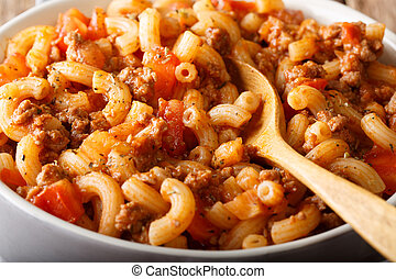codo, goulash, carne de vaca, norteamericano, pastas, casero...