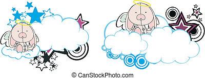 coelhinho, anjo, criança, caricatura, copysapce