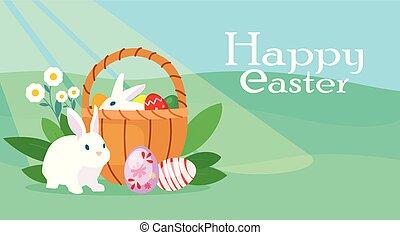 coelhinho, coloridos, ovos, vetorial, cesta, páscoa, cartão