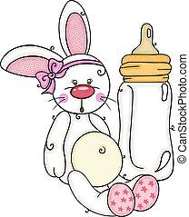 coelhinho, cute, garrafa, leite, menina bebê