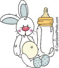 coelhinho, cute, garrafa, leite, menino bebê