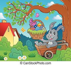 coelhinho, imagem, páscoa, 3, carrinho de mão