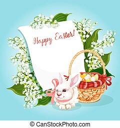 coelho, espaço, páscoa, saudação, cópia, ovo, cartão