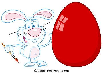coelho, páscoa feliz, ovo, quadro