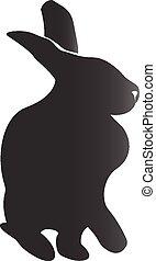 coelho, silueta, vetorial, ícone, logotipo