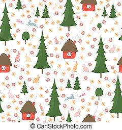 coelhos, ao redor, madeiras, padrão, árvores, seamless, casas, executando, fundo, christmas branco