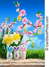 coelhos, páscoa, com, pêssego, flor