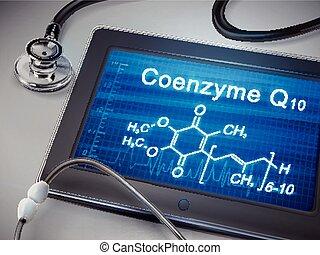 coenzyme, mots, q10, tablette, exposer