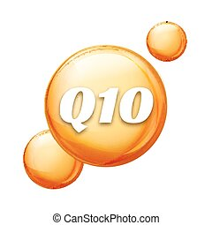 Coenzyme Q10. Golden vector oil icon. Treatment drop pill...
