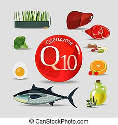 Coenzyme q10. Healthy eating. Natural organic products with...