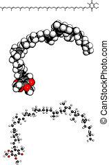 Coenzyme Q10 (ubiquinone), molecular model